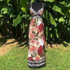 Roz & Ali Zebra & Tropical Floral Maxi Dress
